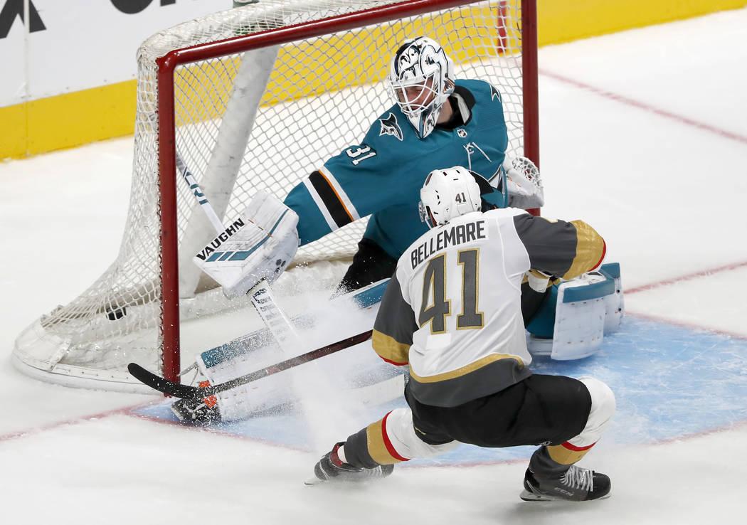 Vegas Golden Knights left wing Pierre-Edouard Bellemare (41) scores a goal past San Jose Sharks goaltender Martin Jones (31) during the third period of a preseason NHL hockey game in San Jose, Cal ...