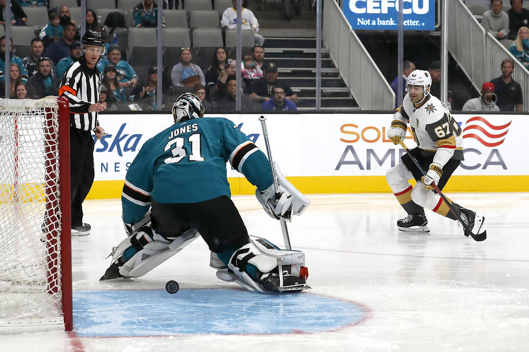 Vegas Golden Knights left wing Max Pacioretty (67) scores a goal past San Jose Sharks goaltender Martin Jones (31) during the first period of a preseason NHL hockey game in San Jose, Calif., Satur ...