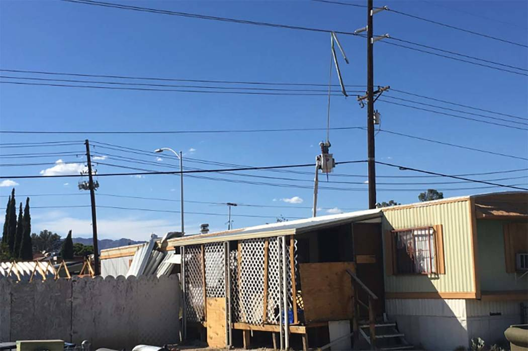 More than 28,000 people in the northwestern Las Vegas Valley are without power after a gust of wind blew a patio awning into power lines on Saturday afternoon, Sept. 22, 2018. (Twitter/Las Vegas F ...