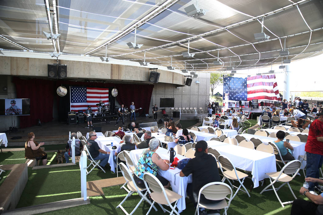 People attend a One Hero at a Time event honoring U.S. Army Sgt. Adam Poppenhouse at the Henderson Events Plaza in Henderson, Saturday, Sept. 22, 2018. Erik Verduzco Las Vegas Review-Journal @Erik ...