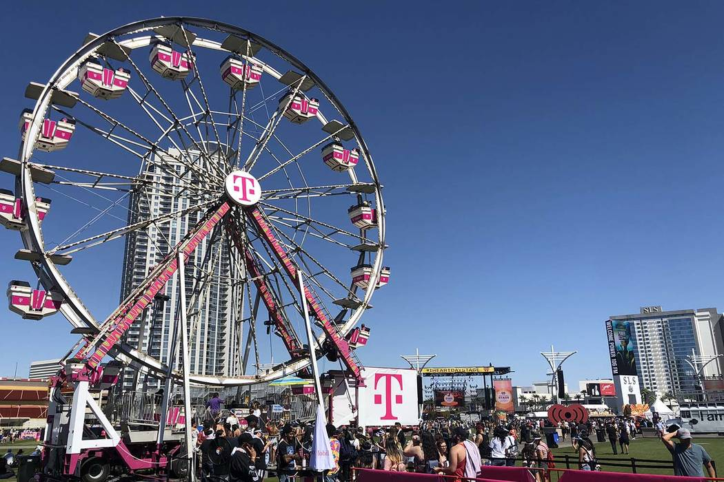 The T-Mobile big wheel is shown at the iHeartRadio Music Festival's Daytime Stage at Las Vegas Festival Grounds on Saturday, Sept. 22, 2018. (John Katsilometes/Las Vegas Review-Journal) @JohnnyKats