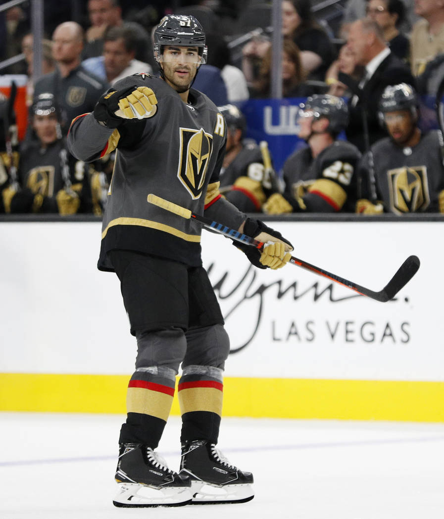 Vegas Golden Knights left wing Max Pacioretty plays against the Arizona Coyotes during the third period of a preseason NHL hockey game Sunday, Sept. 16, 2018, in Las Vegas. (AP Photo/John Locher)