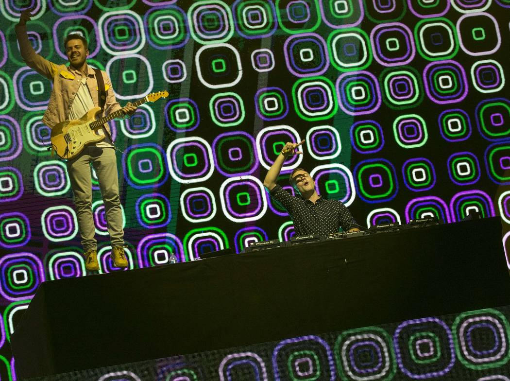 Dutch DJ Sam Feldt, right, and his band perform at the Fremont stage on day two of the annual Life is Beautiful festival in downtown Las Vegas on Saturday, Sept. 22, 2018. Richard Brian Las Vegas ...