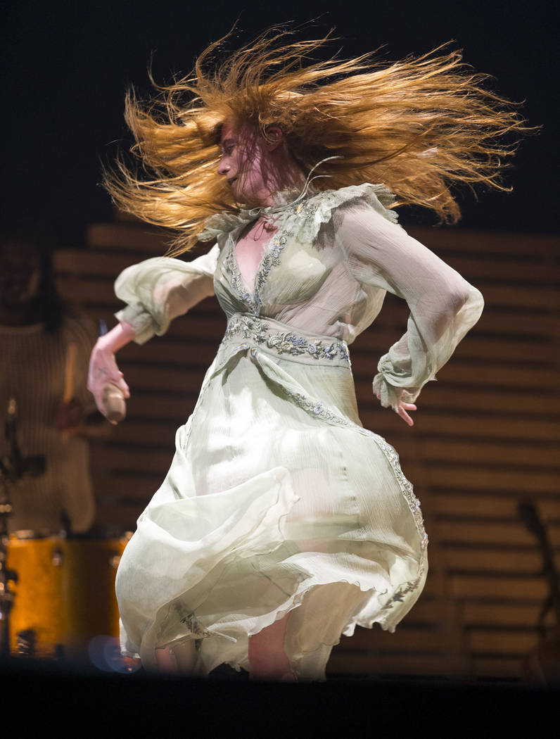 Florence Welch of the English rock band Florence and the Machine performs on Day 2 of the annual Life is Beautiful festival in downtown Las Vegas on Saturday, Sept. 22, 2018. Richard Brian Las Veg ...