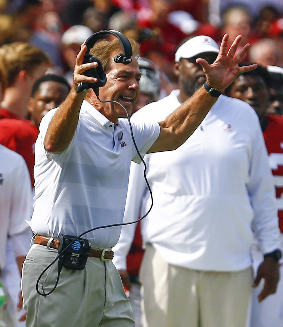 Alabama head coach Nick Saban reacts to a call during the first half of an NCAA college football game, Saturday, Sept. 22, 2018, in Tuscaloosa, Ala. (AP Photo/Butch Dill)