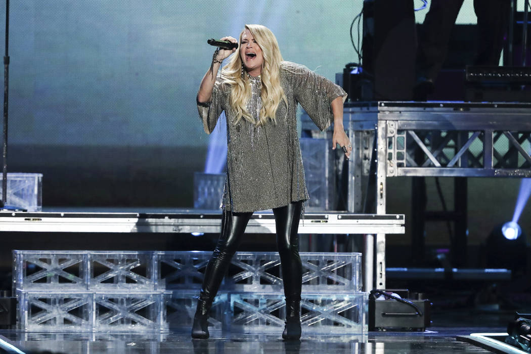 Carrie Underwood performs at the 2018 iHeartRadio Music Festival Day 2 held at T-Mobile Arena on Saturday, Sept. 22, 2018, in Las Vegas. (Photo by John Salangsang/Invision/AP)