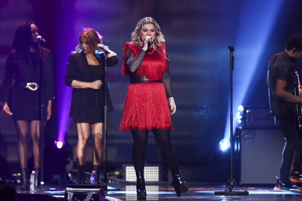 Kelly Clarkson performs at the 2018 iHeartRadio Music Festival Day 2 held at T-Mobile Arena on Saturday, Sept. 22, 2018, in Las Vegas. (Photo by John Salangsang/Invision/AP)