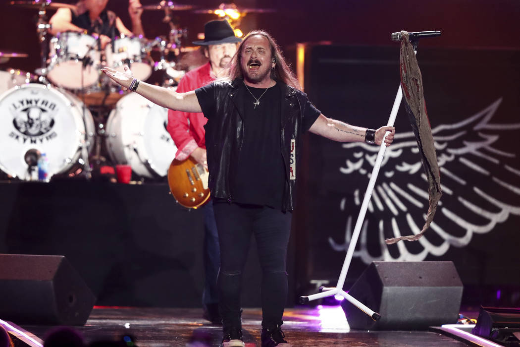 Lynyrd Skynyrd performs at the 2018 iHeartRadio Music Festival Day 2 held at T-Mobile Arena on Saturday, Sept. 22, 2018, in Las Vegas. (Photo by John Salangsang/Invision/AP)