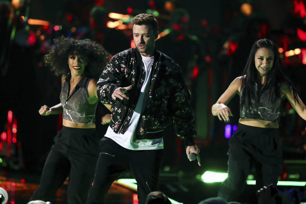 Justin Timberlake performs at the 2018 iHeartRadio Music Festival Day 2 held at T-Mobile Arena on Saturday, Sept. 22, 2018, in Las Vegas. (Photo by John Salangsang/Invision/AP)
