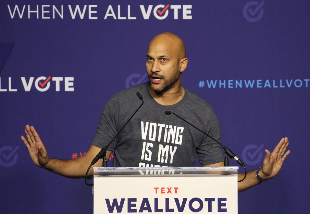 Actor Keegan-Michael Key speaks during a voter registration rally on Sunday, Sept. 23, 2018, in Las Vegas. Bizuayehu Tesfaye/Las Vegas Review-Journal @bizutesfaye