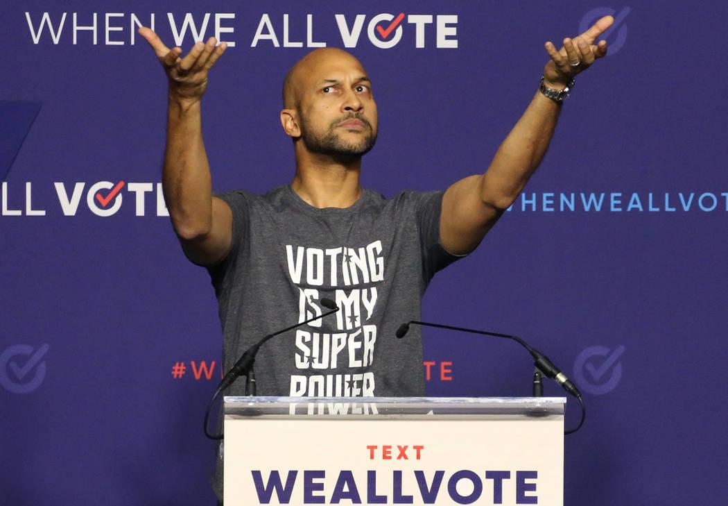 Actor Keegan-Michael Key reacts to the crowed during a voter registration rally on Sunday, Sept. 23, 2018, in Las Vegas. Bizuayehu Tesfaye/Las Vegas Review-Journal @bizutesfaye