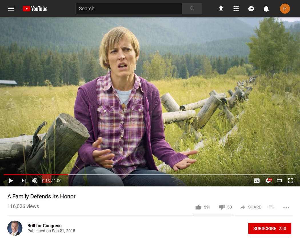 In this image made from a political ad posted on YouTube on Friday, Sept. 21, 2018 by the campaign for David Brill, Democratic candidate for the U.S. House of Representatives from Arizona, Jennife ...