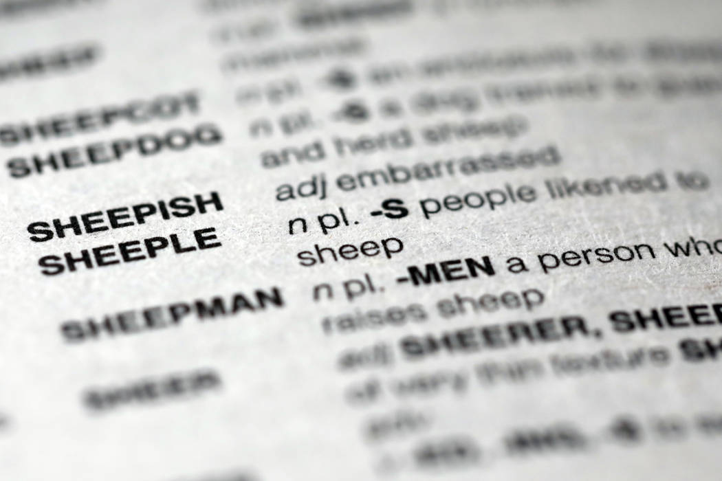 """The word sheeple appears in the new edition of Merriam Webster's """"Official Scrabble Players Dictionary,"""" in New York, Thursday, Sept. 20, 2018. It is among more than 300 additions in the ..."""