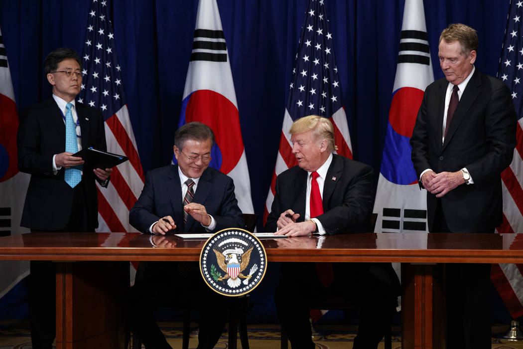 President Donald Trump and South Korean President Moon Jae-In participate in a signing ceremony for the United States-Korea Free Trade Agreement at the Lotte New York Palace hotel during the Unite ...