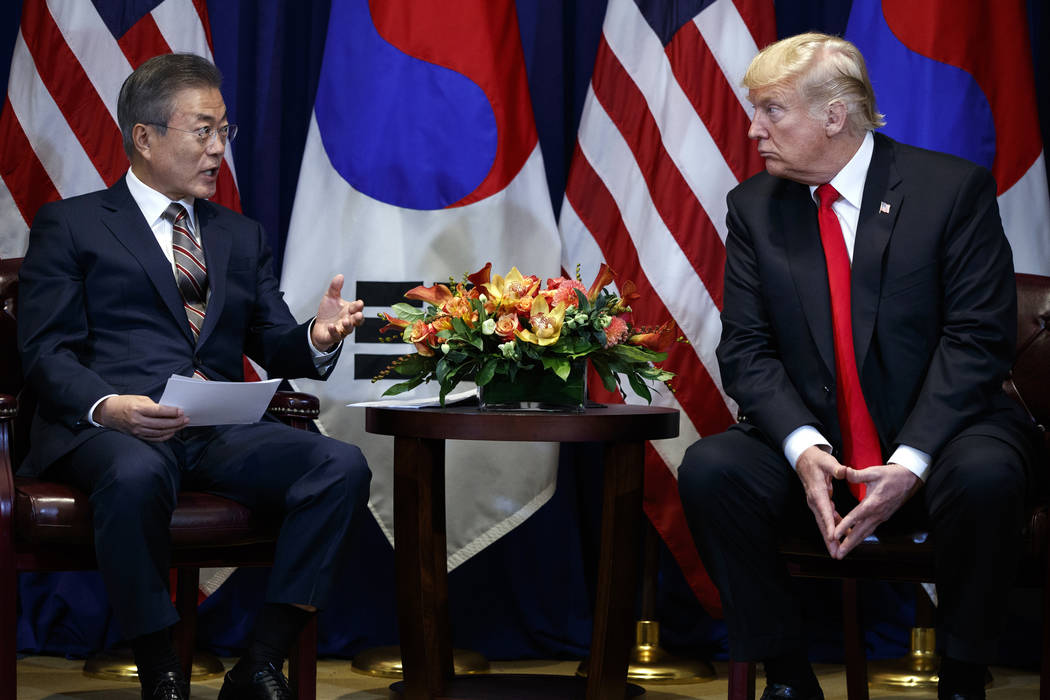President Donald Trump meets with South Korean President Moon Jae-In at the Lotte New York Palace hotel during the United Nations General Assembly, Monday, Sept. 24, 2018, in New York. (AP Photo/E ...