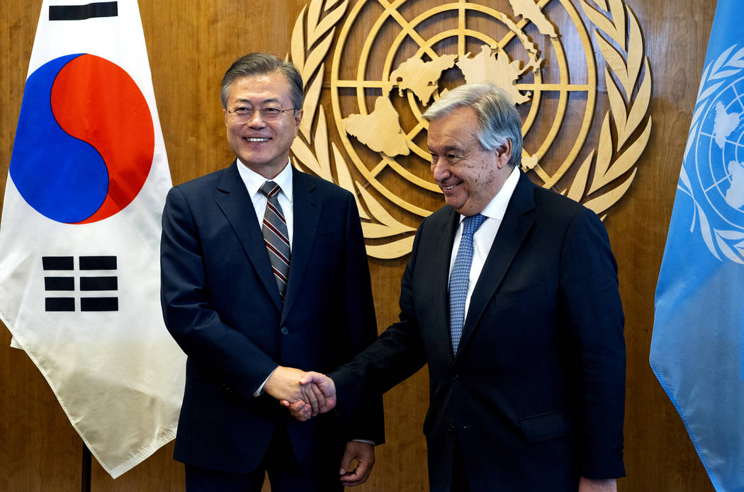 South Korean President Moon Jae-In , left, is greeted by United Nations Secretary-General Antonio Guterres Monday, Sept. 24, 2018, at U.N. headquarters. (AP Photo/Craig Ruttle)
