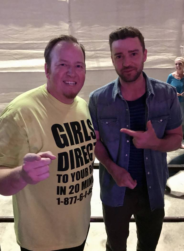 "Paul Lopez (left) and pop superstar Justin Timberlake are shown backstage at ""Absinthe"" at Caesars Place on Sunday, Sept. 23, 2018. (Almas Meirmanov)"