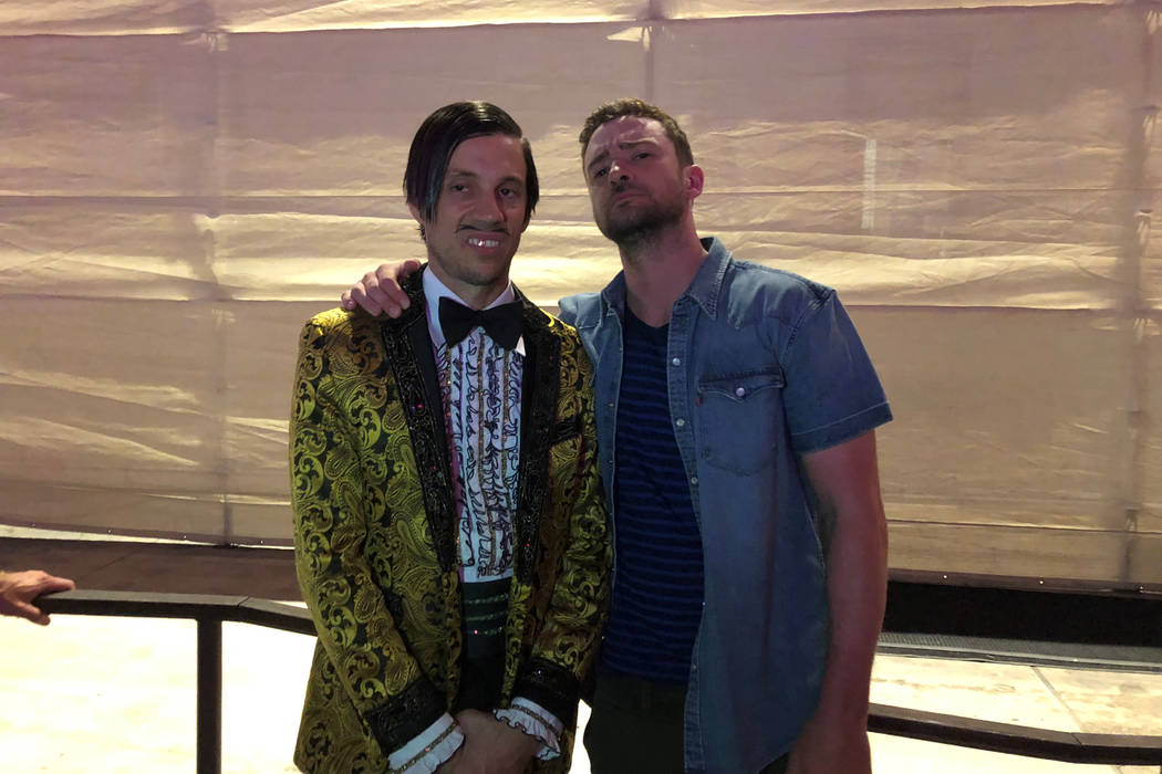 "The Gazillionaire (left) and pop superstar Justin Timberlake are shown backstage at ""Absinthe"" at Caesars Place on Sunday, Sept. 23, 2018. (Daniel Kells/Spiegelworld)"