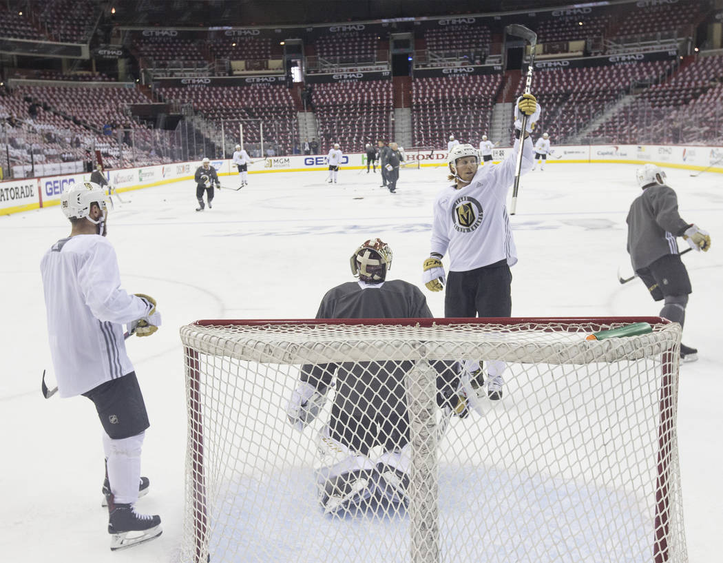 Golden Knights center Cody Eakin (21) salutes his teammates during practice leading up to Game 3 of the NHL Stanley Cup Final with the Washington Capitals on Saturday, June 2, 2018, in Washington. ...