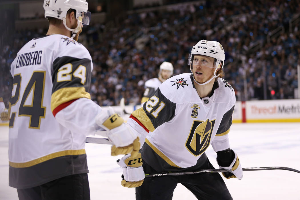 Vegas Golden Knights center Oscar Lindberg (24) and center Cody Eakin (21) during the first period in Game 6 of an NHL hockey second-round playoff series at the SAP Center in San Jose, Calif., Sun ...