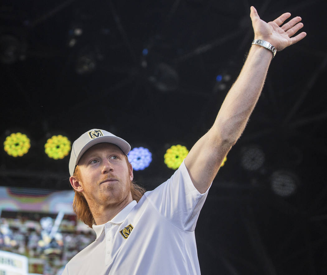 "Golden Knights center Cody Eakin waves at fans during ""Stick Salute to Vegas and Our Fans"" on Wednesday, June 13, 2018, at the Fremont Street Experience, in Las Vegas. Benjamin Hager ..."