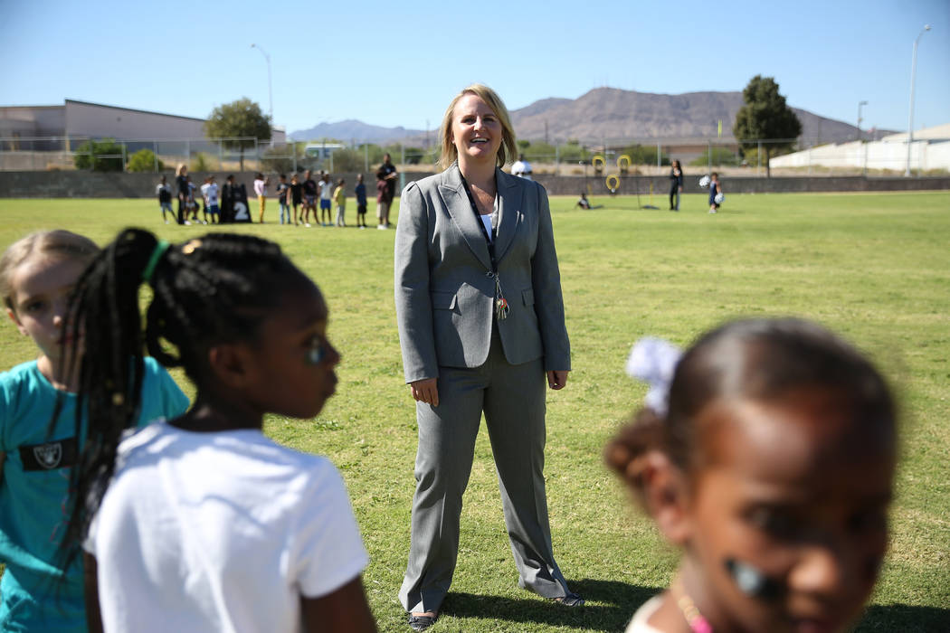 Principal Kimberly Basham at Robert Taylor Elementary School in Henderson, Tuesday, Sept. 25, 2018. The Raiders adopted the Communities In Schools of Southern Nevada resource room at Robert Taylor ...