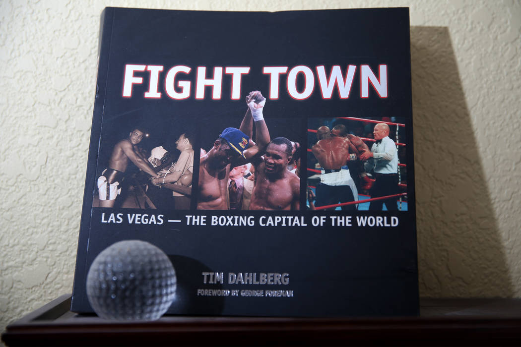 A book by Tim Dahlberg, national sports columnist for the Associated Press, at his Las Vegas home, Thursday, Sept. 27, 2018. Dahlberg is scheduled to be inducted to the Nevada Press Association Ha ...