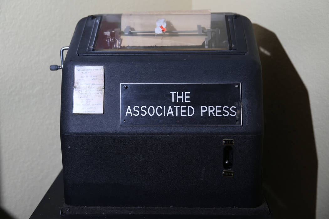 A teletype machine owned by Tim Dahlberg, national sports columnist for the Associated Press, at his Las Vegas home, Thursday, Sept. 27, 2018. Dahlberg is scheduled to be inducted to the Nevada Pr ...