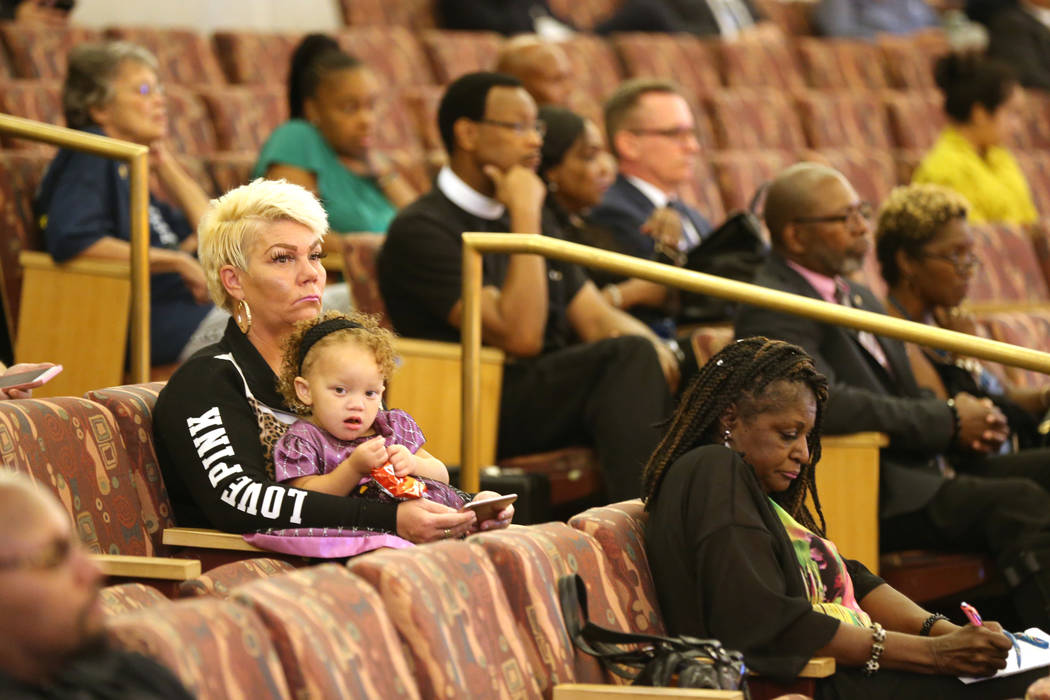 Audience members during a public review of evidence in the Clark County Commission chambers Monday, Sept, 24, 2018, regarding the death of Tashii Brown, who died after an encounter with Las Vegas ...