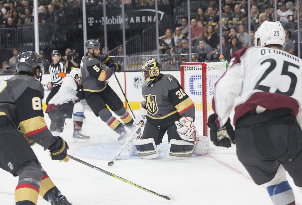 b72778dff Golden Knights goaltender Malcolm Subban (30) makes a first period save  during Vegas'