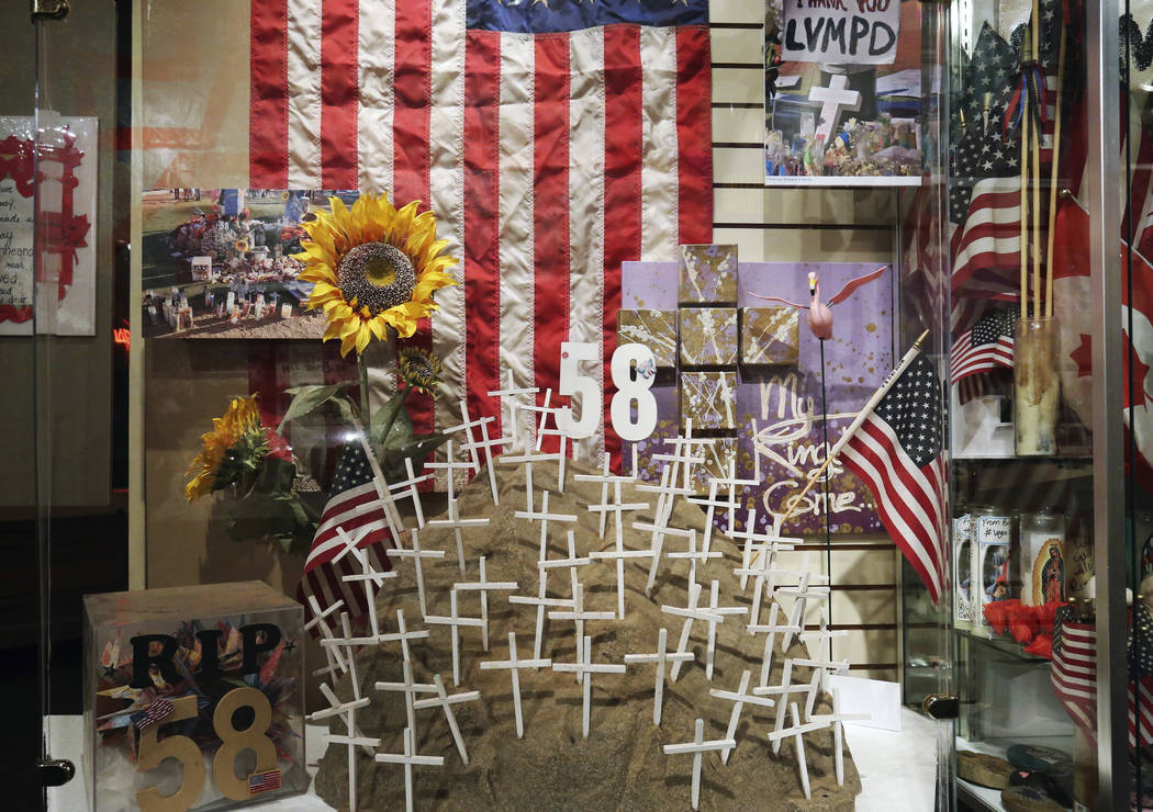 Artifacts used to honor the victims killed in the Route 91 Harvest festival shooting are displayed at the Clark County Museum on Monday, Sept. 24, 2018, in Henderson. (Bizuayehu Tesfaye/Las Vegas ...