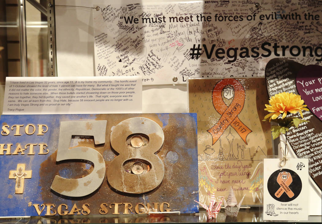 Artifacts used to honor the victims killed in the Route 91 Harvest festival shooting are displayed on Sept. 24, 2018, at the Clark County Museum in Henderson. The exhibit opens to the public Frida ...