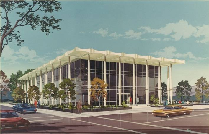 A rendering of the 1970s-era office building at 201 Las Vegas Blvd. South. (Dapper Cos.)