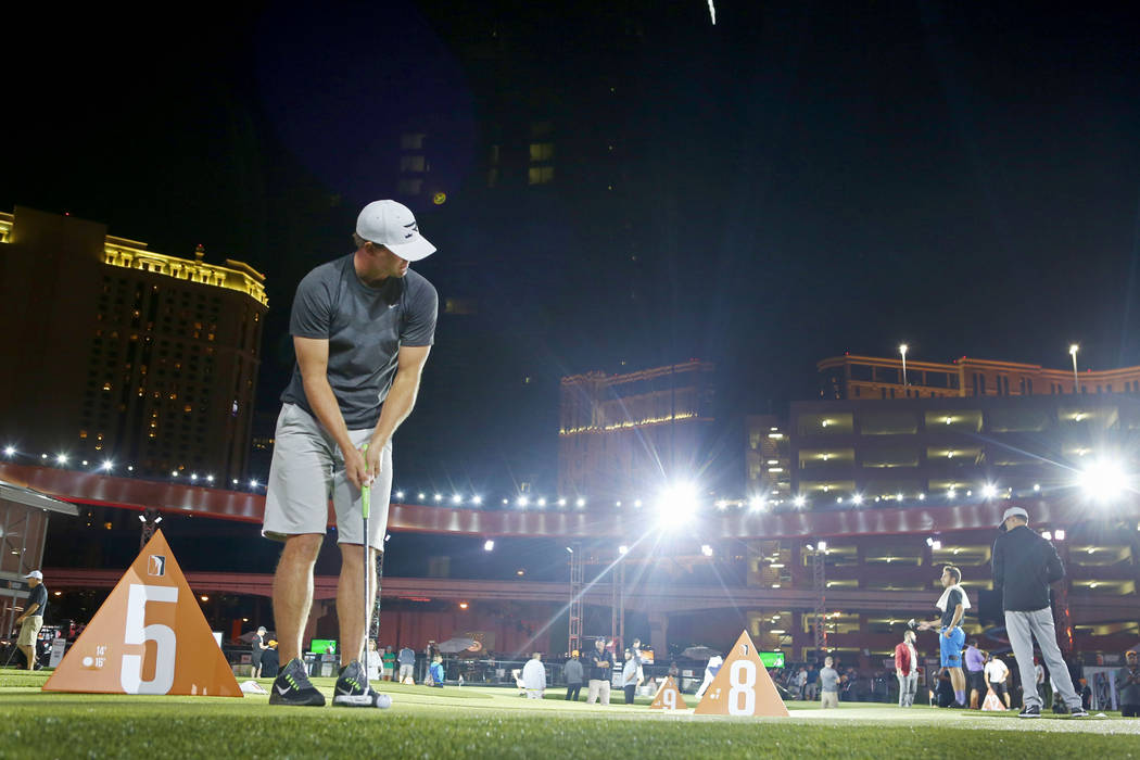 Las Vegas local Taylor Montgomery plays in the Major Series of Putting at a temporary stadium on the Las Vegas Strip behind Planet Hollywood Resort, Wednesday, Oct 25, 2017. Elizabeth Brumley Las ...