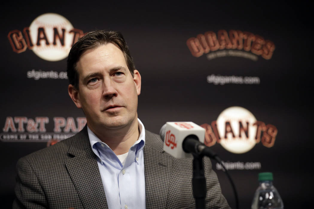 In this Jan. 19, 2018, file photo, San Francisco Giants general manager Bobby Evans during a news conference in San Francisco. (AP Photo/Marcio Jose Sanchez, File)