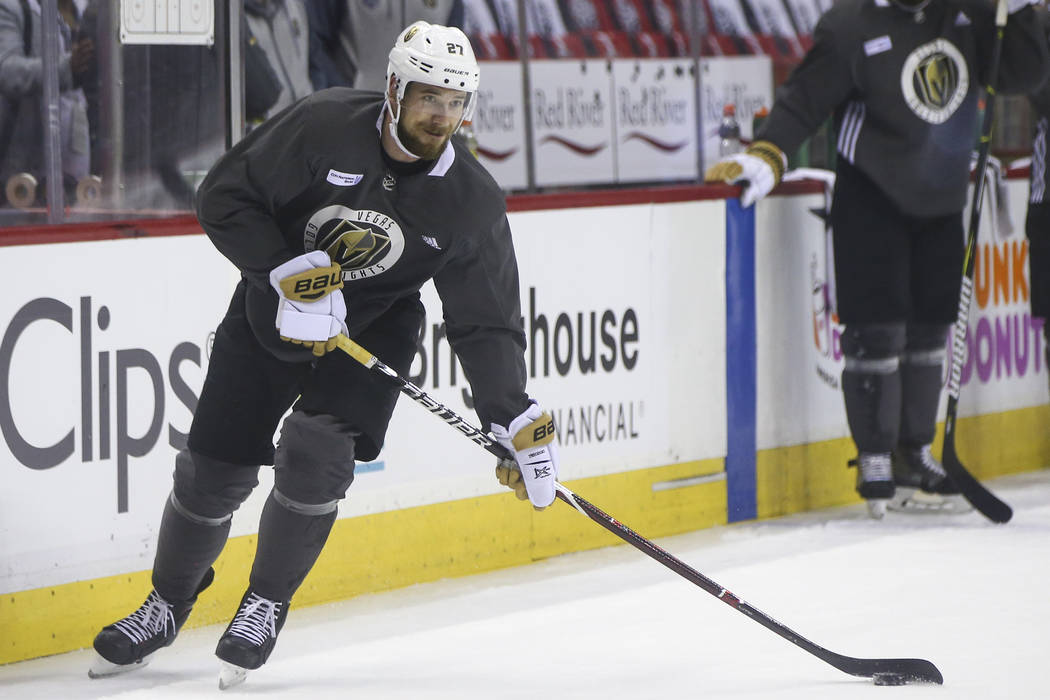 Golden Knights defenseman Shea Theodore (27) skates with the puck during practice at Capital One Arena in Washington on Friday, June 1, 2018. The Golden Knights are slated to face the Washington C ...