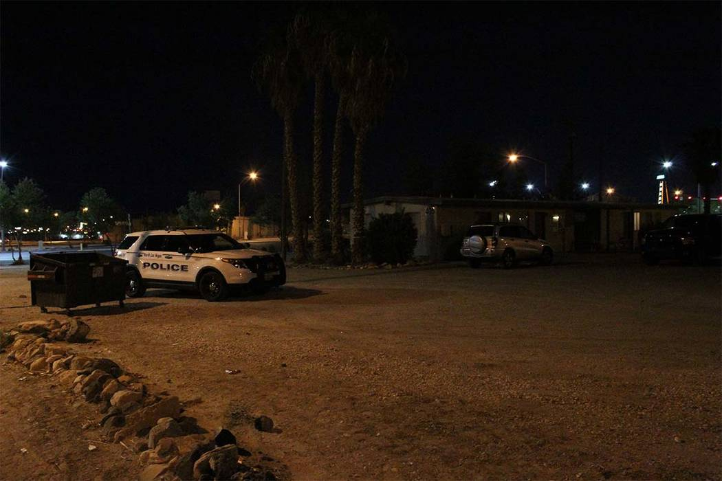 North Las Vegas police are investigating after a 22-year-old man was shot and killed Monday, Sept. 24, 2018, at a North Las Vegas apartment complex. (Max MIchor/Las Vegas Review-Journal)