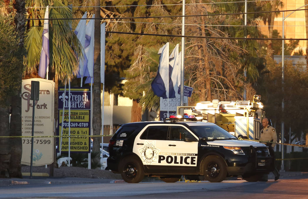 Las Vegas police are investigating after a meth lab was discovered at an apartment complex in the 500 block of Sierra Vista Drive on Tuesday, Sept. 25, 2018, in Las Vegas. Residents have been evac ...