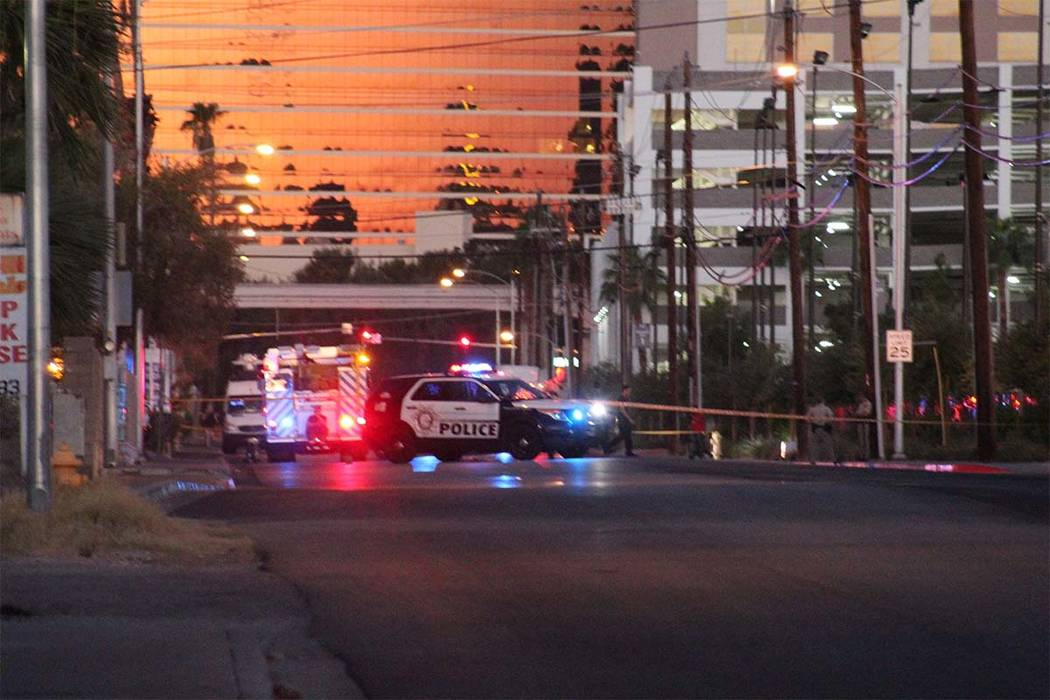 Apartments have been evacuated and police have blocked off Sierra Vista between Swenson Street and Paradise Road Tuesday, Sept. 25, 2018, after a meth lab was discovered earlier in the day. (Mac M ...