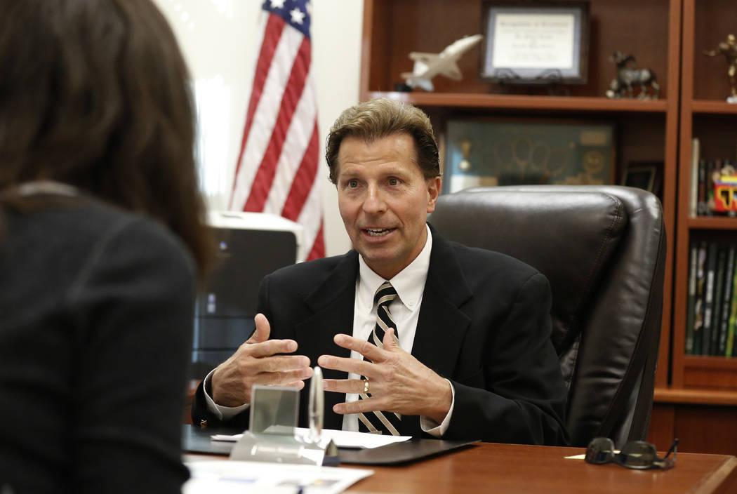 Dr. James Kuzma, Rancho High School principal, speaks during an interview with the Las Vegas Review-Journal on Monday, Sept. 24, 2018, in Las Vegas. (Bizuayehu Tesfaye/Las Vegas Review-Journal) @b ...