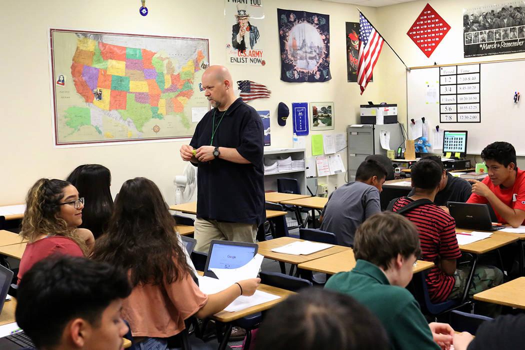 Rancho High School freshmen in U.S. history class as their teacher Robert Cowles looks on Monday, Sept. 24, 2018, in Las Vegas. (Bizuayehu Tesfaye/Las Vegas Review-Journal) @bizutesfaye