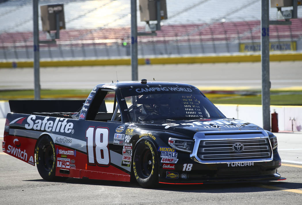 Noah Gragson (18) during practice ahead of the NASCAR Camping World Truck Series at the Las Vegas Motor Speedway in Las Vegas on Thursday, March 1, 2018. Chase Stevens Las Vegas Review-Journal @cs ...