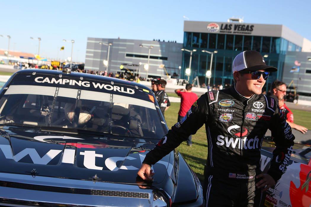 Las Vegas native Noah Gragson (18) stands to next to his car prior to the NASCAR Camping World Truck Series race at Las Vegas Motor Speedway in Las Vegas, Saturday, Sept. 30, 2017. Bridget Bennett ...