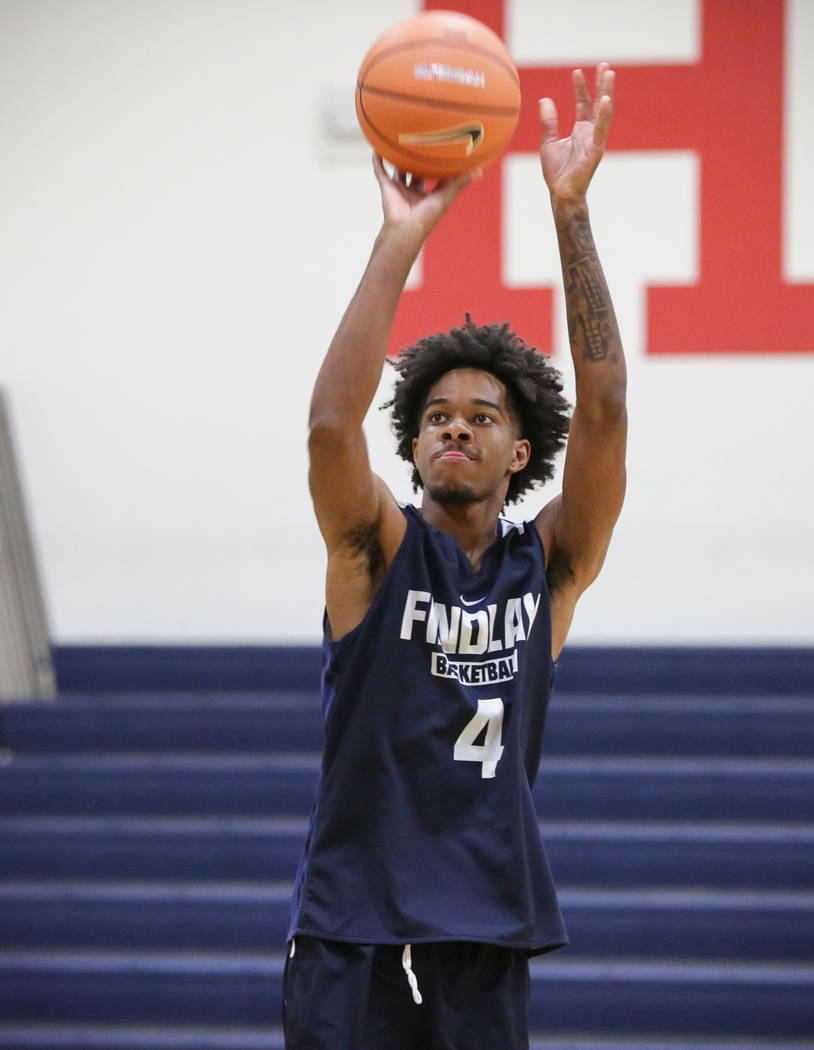 Findlay Prep's PJ Fuller, committed to TCU, shoots on the basket to warm up at the beginning of practice held at Henderson International School in Henderson, Tuesday, Sept. 25, 2018. Caroline Breh ...