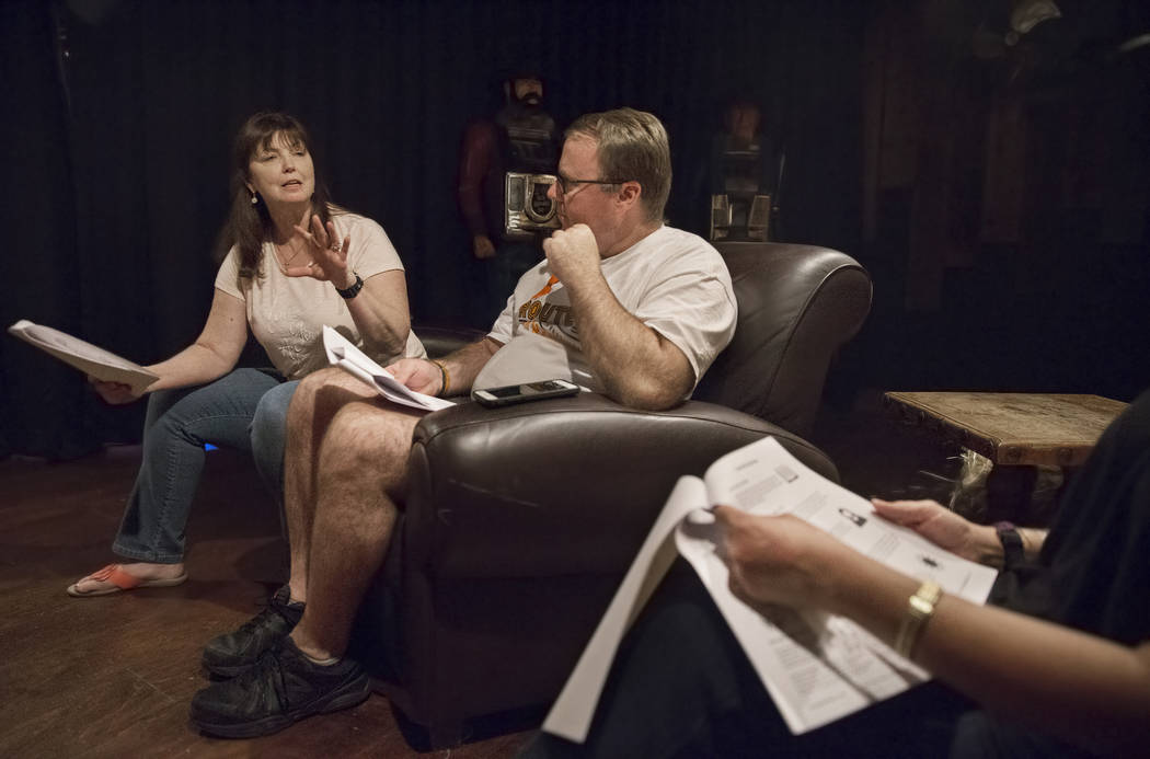 Deb Dailey, left, president of the EMS Training Center of Southern Nevada, and Chris Philippsen discuss the steps of healing at a local Route 91 survivors support group on Wednesday, Sept. 26, 201 ...