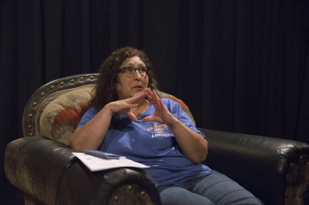 Yvette Archuleta talks about her lingering anxiety leading up to the anniversary of Oct 1 during a local Route 91 survivors support group on Wednesday, Sept. 26, 2018, at Stoney's Rockin' Country, ...