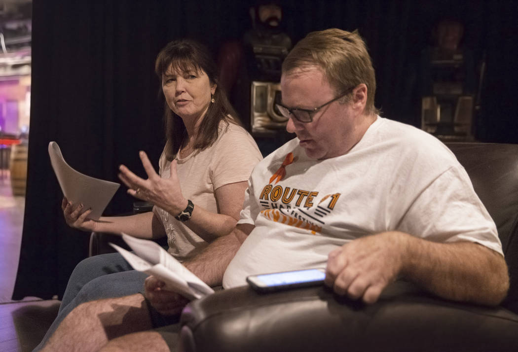 Deb Dailey, left, president of the EMS Training Center of Southern Nevada, and Chris Philippsen discuss the steps of healing at a local Route 91 survivors support group on Wednesday, Sept. 26, 20 ...