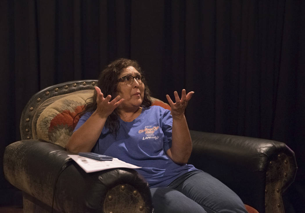 Yvette Archuleta, middle, talks about her lingering anxiety leading up to the anniversary of Oct 1 during a local Route 91 survivors support group on Wednesday, Sept. 26, 2018, at Stoney's Rockin' ...