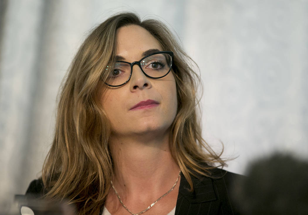 Paloma Heindorff is introduced as the new director of Defense Distributed at a news conference at the Sterling Events Center in Austin, Texas, on Tuesday September 25, 2018. Cody Wilson, the found ...