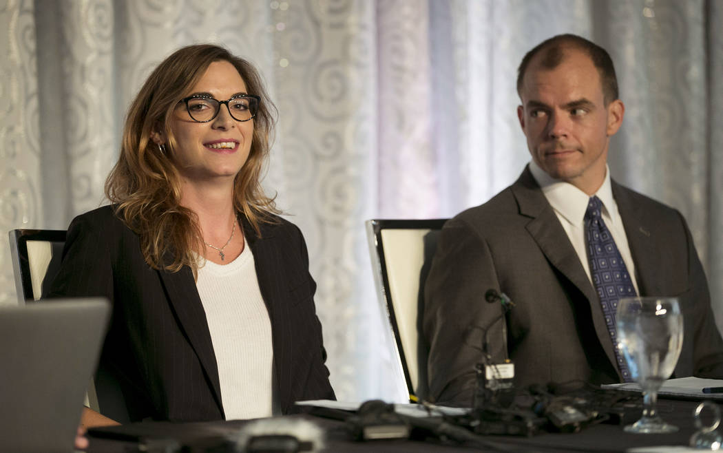 Paloma Heindorff is introduced as the new director of Defense Distributed at a news conference at the Sterling Events Center in Austin, Texas, on Tuesday September 25, 2018. At right is her attorn ...